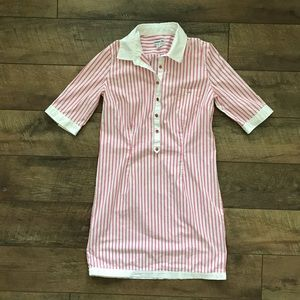 Lacoste Pink White Striped Shirt Dress Small